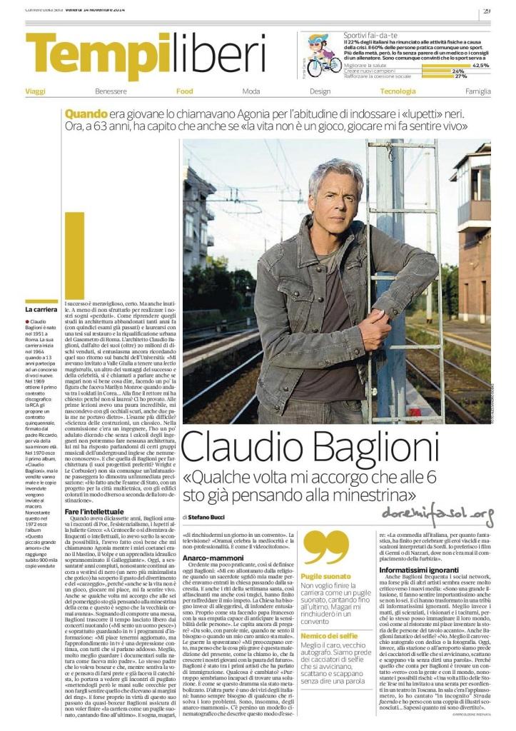 Claudio Baglioni corriere della sera 14 novembre 2014