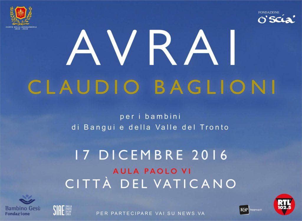 Modalità acquisto per Claudio Baglioni in Vaticano